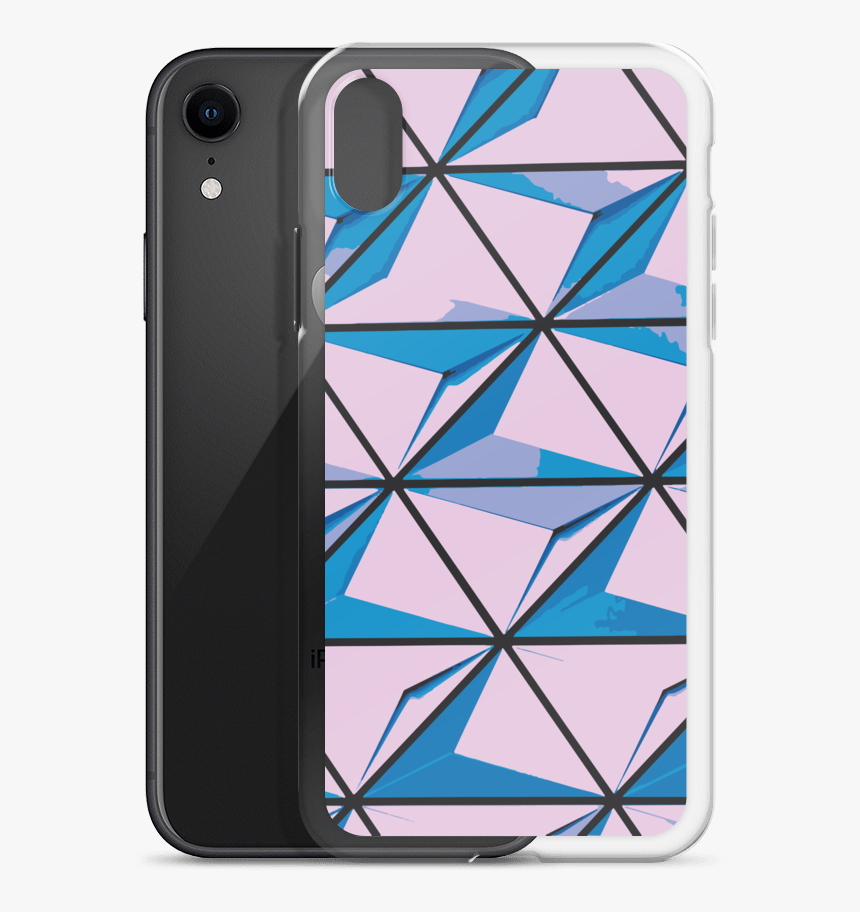 Pink Triangles Mockup Case With Phone Black Iphone - Design, HD Png Download, Free Download