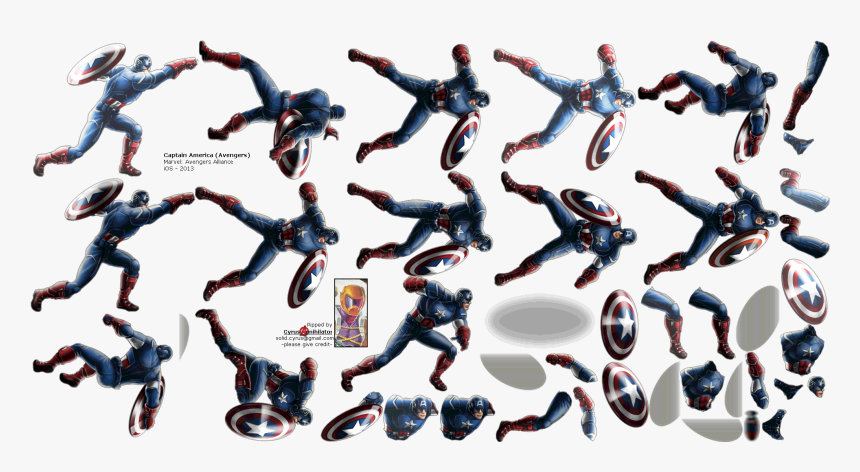 Click For Full Sized Image Captain America - Marvel Avengers Alliance Captain America Sprite, HD Png Download, Free Download