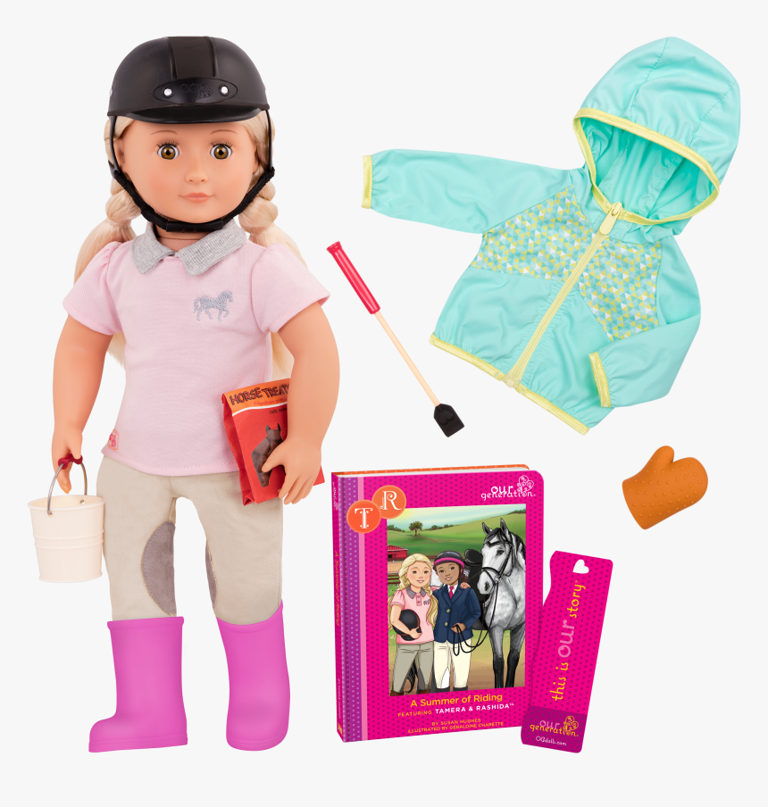 New American Girl Doll Fits 18 Doll Riding Helmet And - Our Generation Doll Horse Rider, HD Png Download, Free Download