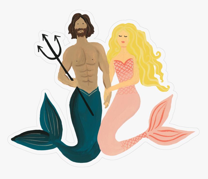 Mermaid Couple Print & Cut File - Illustration, HD Png Download, Free Download
