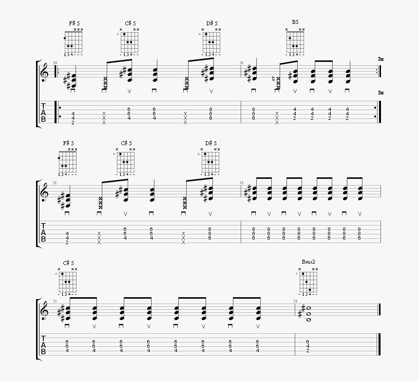 """Guitar Tabs Of The Last Chorus Of The Song What""""s My - Sheet Music, HD Png Download, Free Download"""