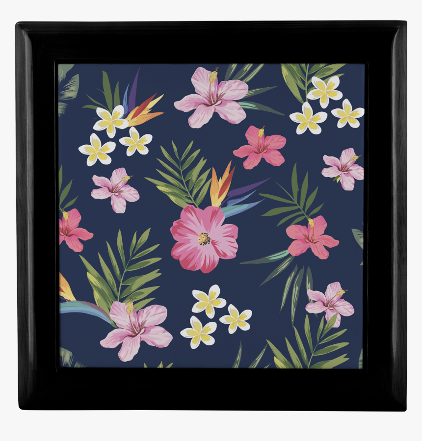 Leilani Fresh Tropical Custom Design Wood Jewelry Box, - Estampa Floral Com Abacaxi, HD Png Download, Free Download