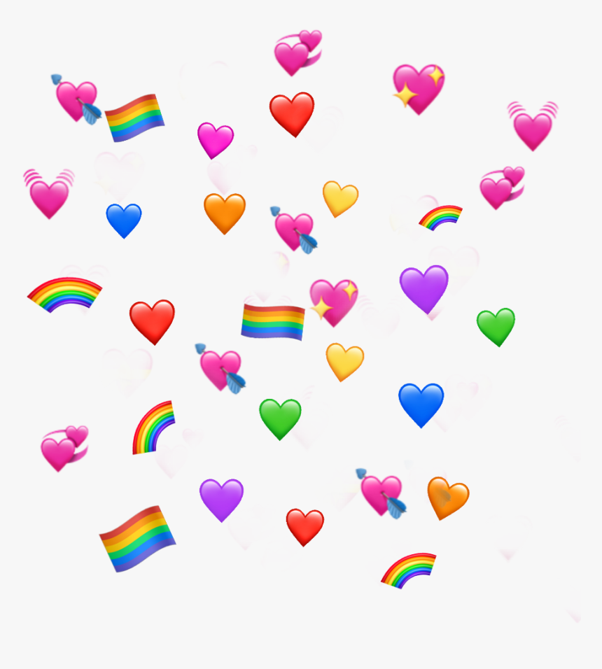 #corazones #corazón #banderita #lgbt #arcoiris🌈 - Heart Emoji Png Meme, Transparent Png, Free Download