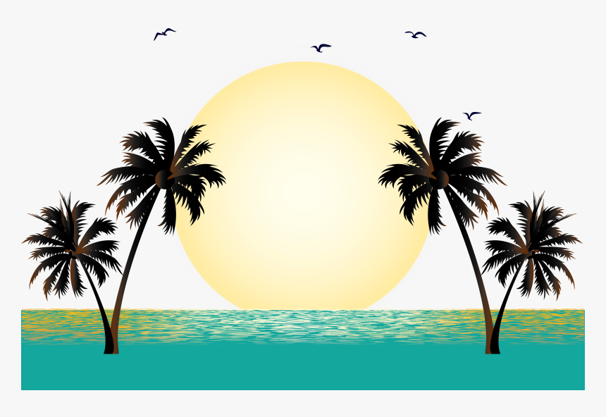 Vector Vacation Illustration Graphics Free Png Hq Clipart - Coconut Tree Vector Png, Transparent Png, Free Download