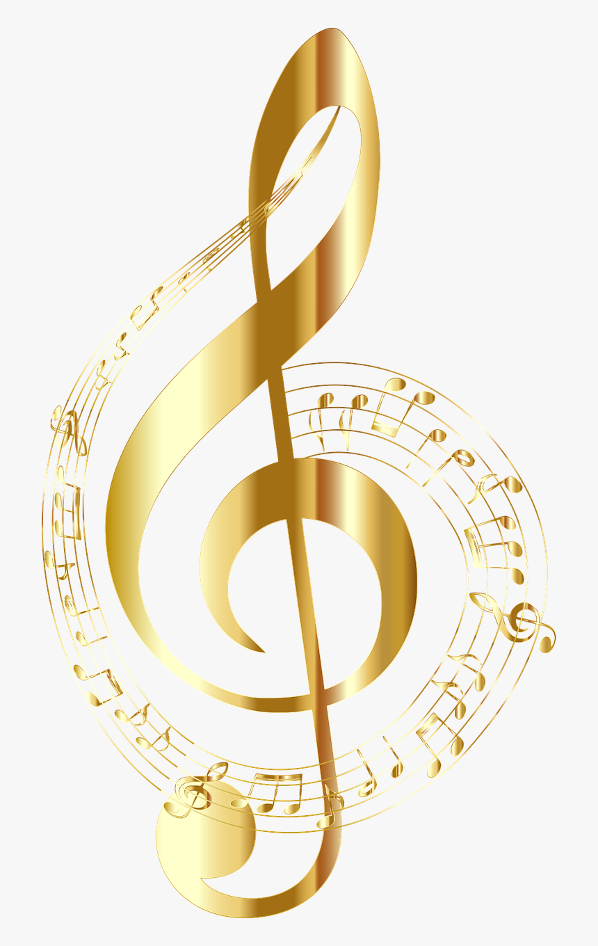 Transparent Treble Clef Clipart - Gold Music Notes Png, Png Download, Free Download