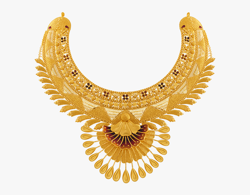 Gold Necklace 22k Yellow Gold Necklace Pc Chandra Jewellers - Gold Pc Chandra Jewellers Wedding Necklace Collection, HD Png Download, Free Download