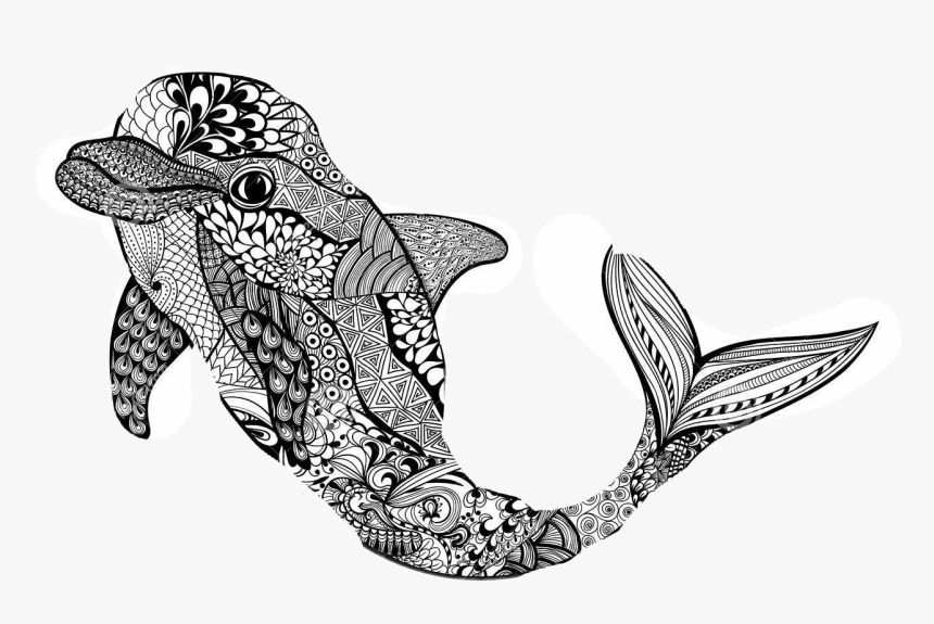 Zentangle Dolphin Clipart , Png Download - Тату Дельфин Эскиз, Transparent Png, Free Download