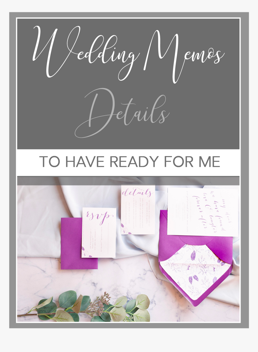 Wedding Memos- Details To Have Ready For Your Photographer - Calligraphy, HD Png Download, Free Download