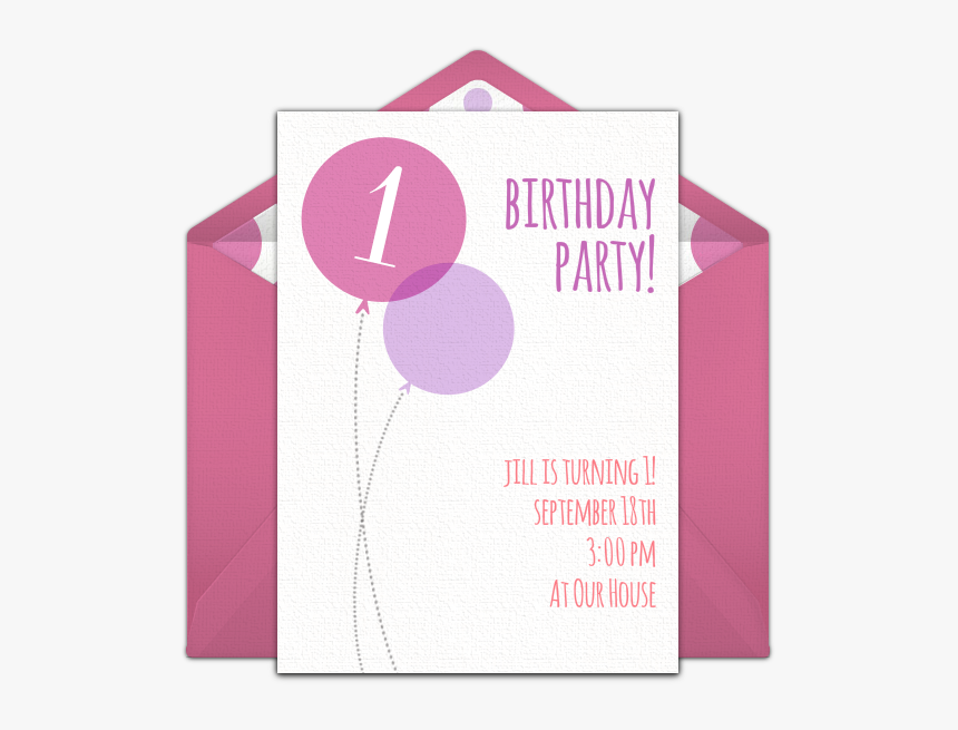 Pink Milestone First Birthday Online Invitation - Paper, HD Png Download, Free Download