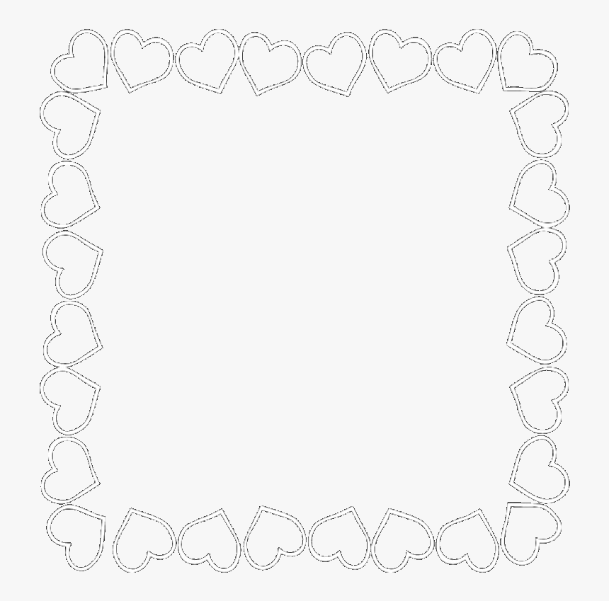 #heart #hearts #border #frame #heartframe #white #whiteframe - Line Art, HD Png Download, Free Download