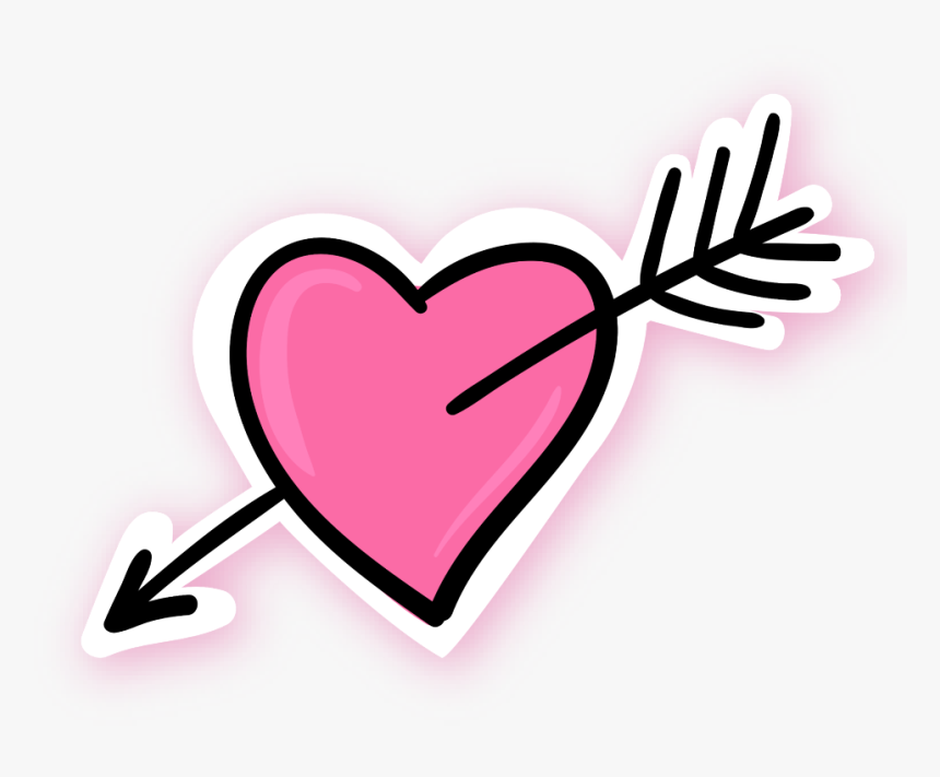 #ftestickers #doodle #sketch #heart #arrow #pink - Pink Heart With Arrow, HD Png Download, Free Download