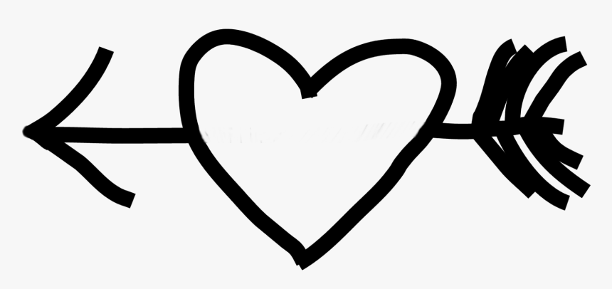 Heart Black And White Drawing Clip Art - Clip Art Arrow Heart Black And White, HD Png Download, Free Download