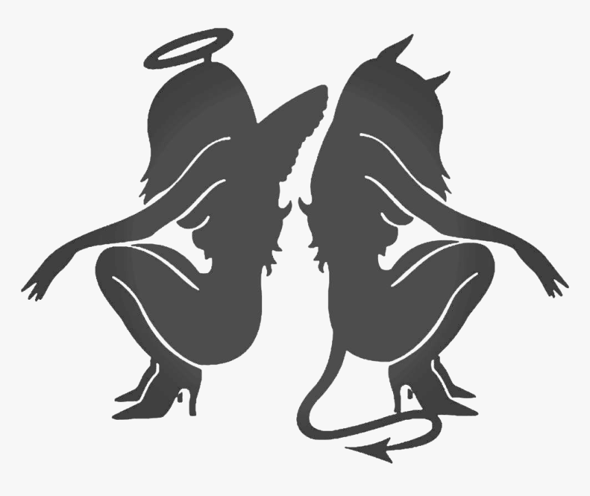 Decal Sticker Angel Devil Demon - Demon And Angel Girl, HD Png Download, Free Download