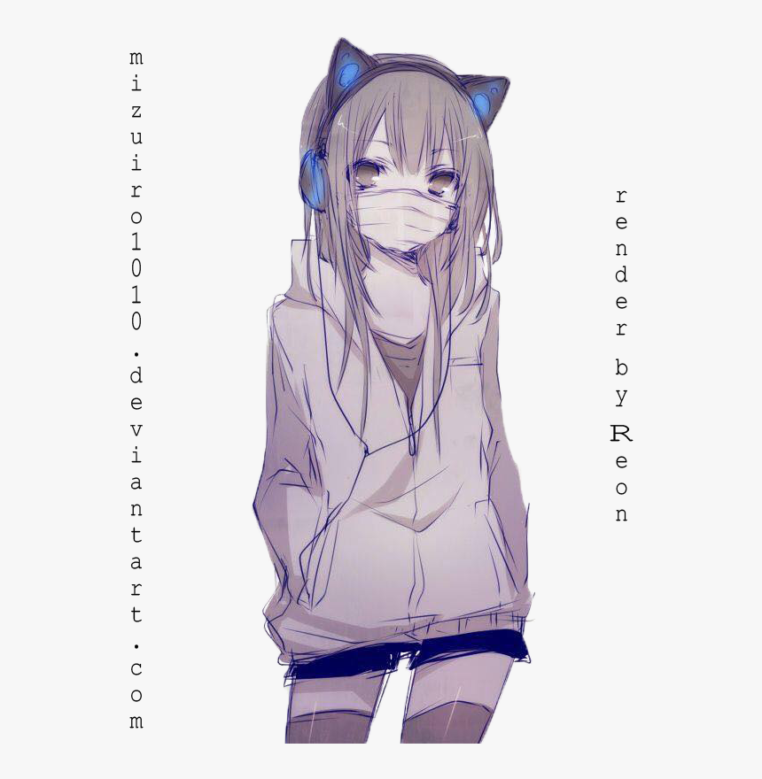 Transparent Neko Girl Png - Girl Wearing Hoodie Anime Drawing, Png Download, Free Download