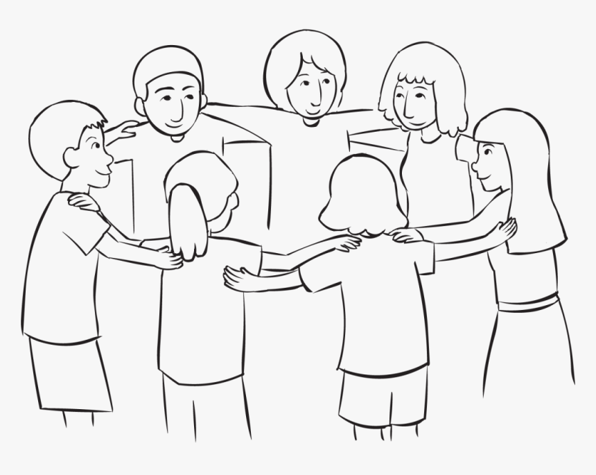 Back Circle Of People Looking Upwards, As Part Of Look - Drawing Of A Circle Of People, HD Png Download, Free Download