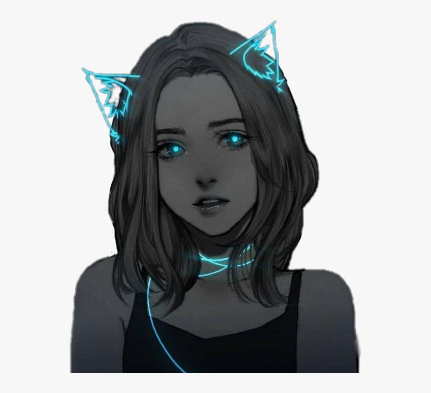 #anime #otaku #animegirl #neon #black #blue #cat #ears - Anime Girl With Cat Ears, HD Png Download, Free Download