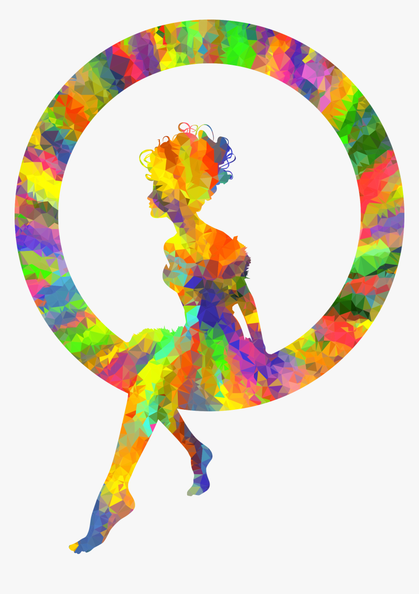 Low Poly Splash Of Color Fairy Sitting In A Circle - Woman Silhouette Png Color, Transparent Png, Free Download