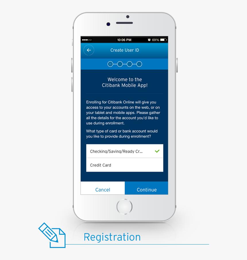 Registration - Citibank Mobile App Registration, HD Png Download, Free Download