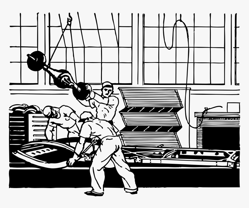Putting The Axle On The Chasis - Factory Workers Clip Art, HD Png Download, Free Download