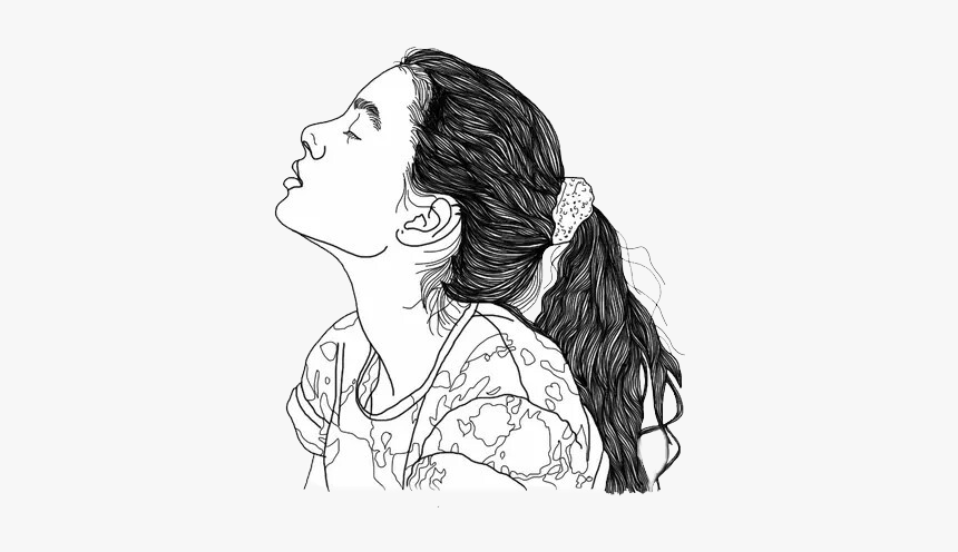 #png #edit #freetoedit #tumblr #overlay #outline #girl - Girl With Earbuds Drawing, Transparent Png, Free Download