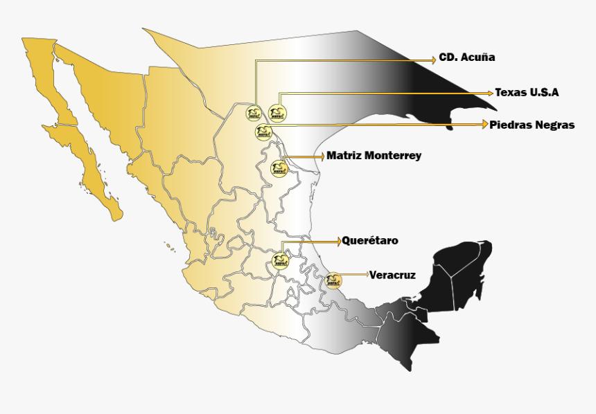 Mapa De Sucursal Siepsa - Mexico Map Vector Png, Transparent Png, Free Download