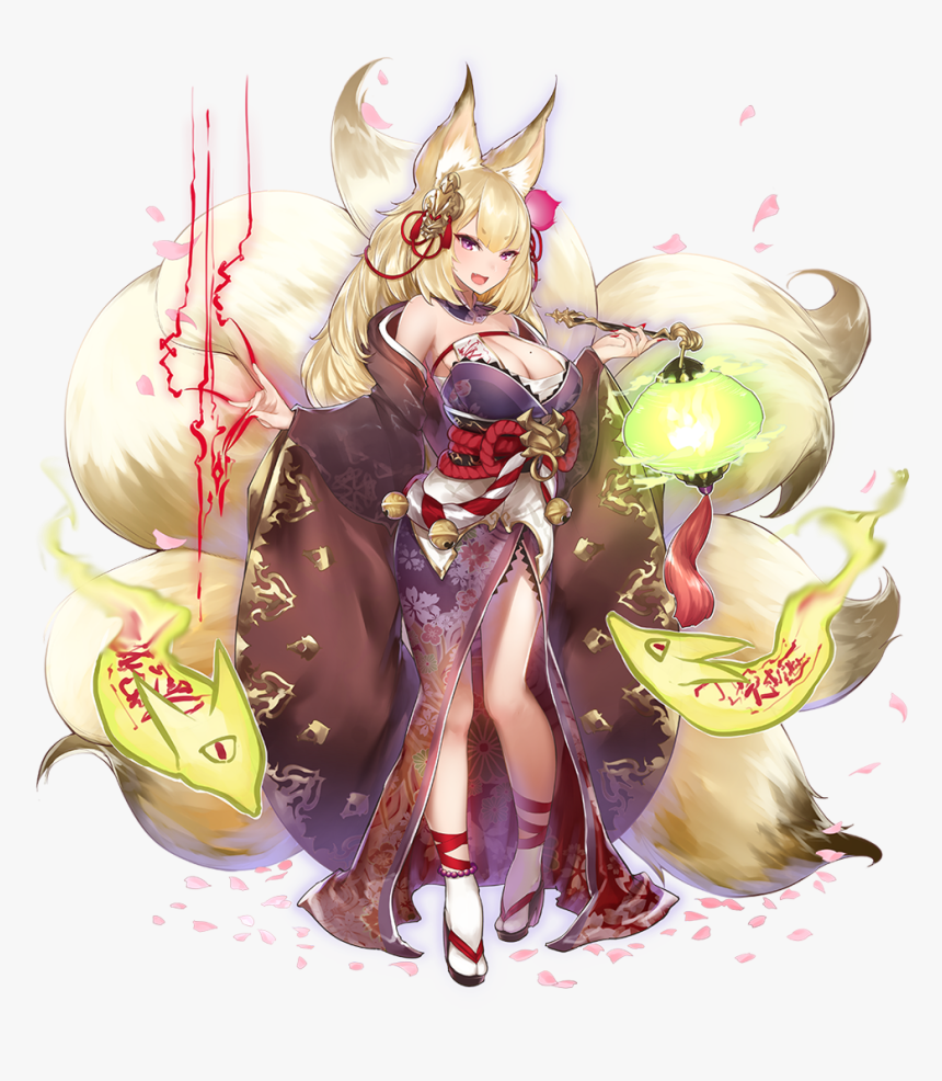 Nine Tailed Fox Girl Anime Hd Png Download Kindpng