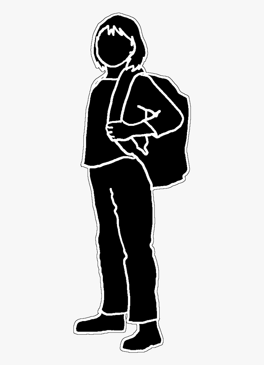 Black Outline Silhouette, School Girl Black White, - Clipart School Boy Silhouette, HD Png Download, Free Download