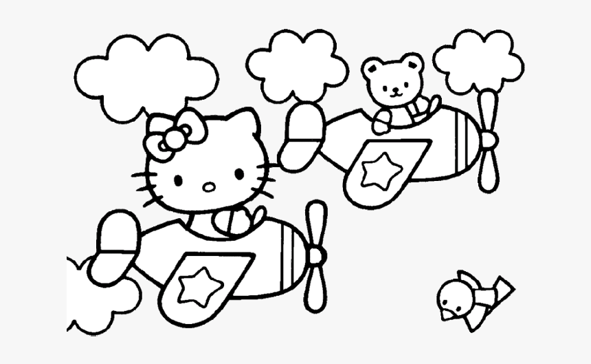 Hello Kitty Coloring Pages Airplane, HD Png Download, Free Download