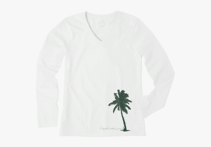 """Women""""s Palm Tree With Lights Long Sleeve Crusher Vee - Long-sleeved T-shirt, HD Png Download, Free Download"""