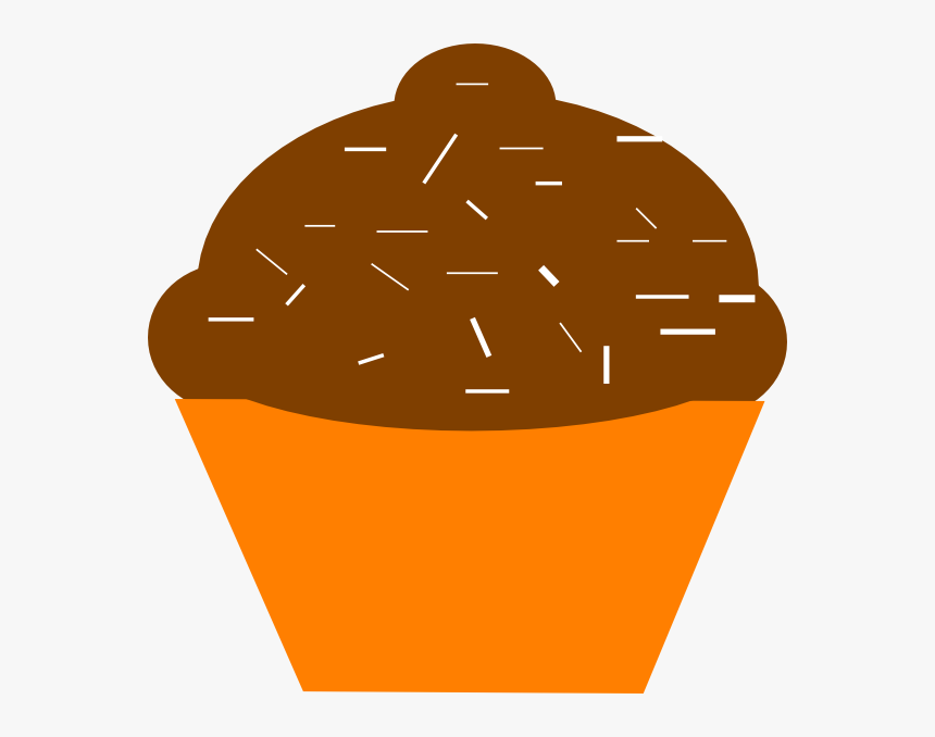 Cupcake Brown Orange Svg Clip Arts - Orange And Brown Cupcake, HD Png Download, Free Download