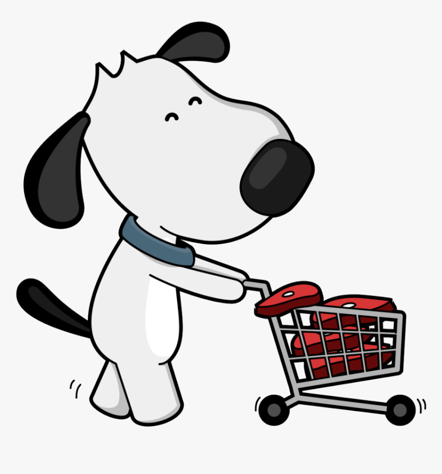 Well Clipart Dog Bone Dog With Shopping Cart Png Transparent