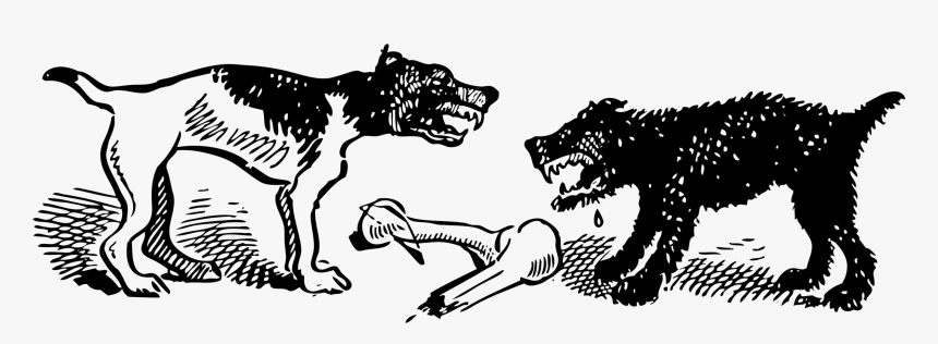 Art,livestock,monochrome Photography - Two Dogs Fighting Over A Bone, HD Png Download, Free Download