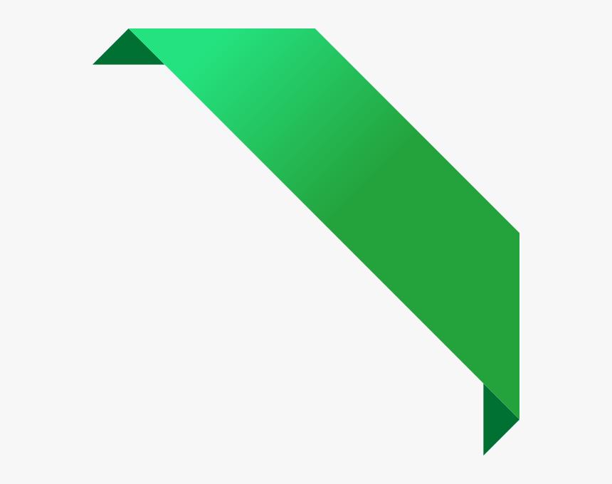 Green Corner Banner Png , Png Download - Corner Ribbon Vector Png, Transparent Png, Free Download