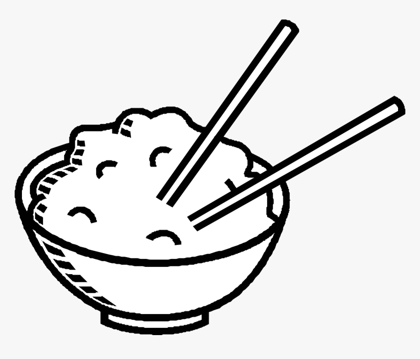 Chopsticks, Chinese Food, Bowl, Rice - Rice Black And White Clipart, HD Png Download, Free Download