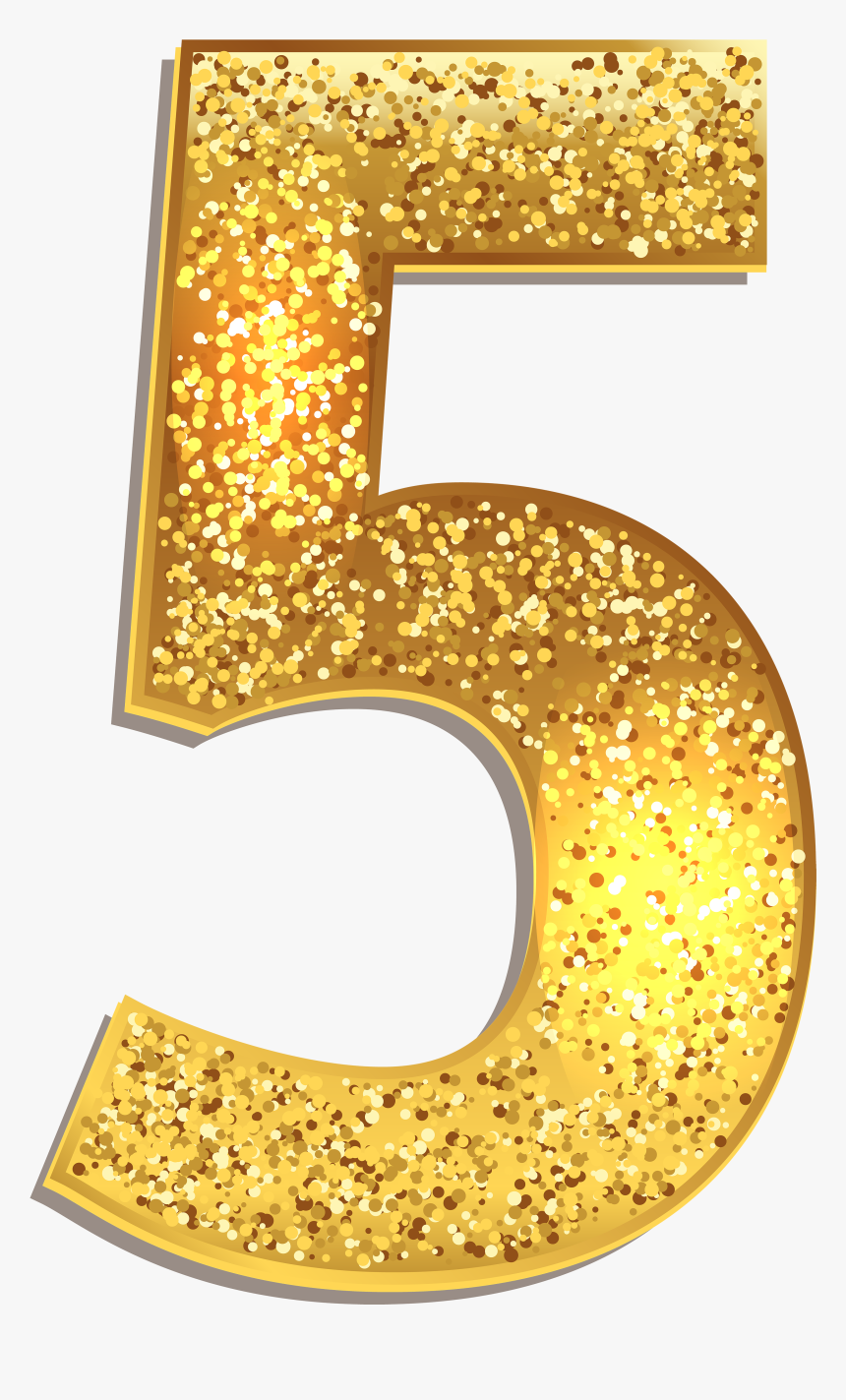 Number 1 Clipart Numeral - Gold Glitter Number 5 Png, Transparent Png, Free Download