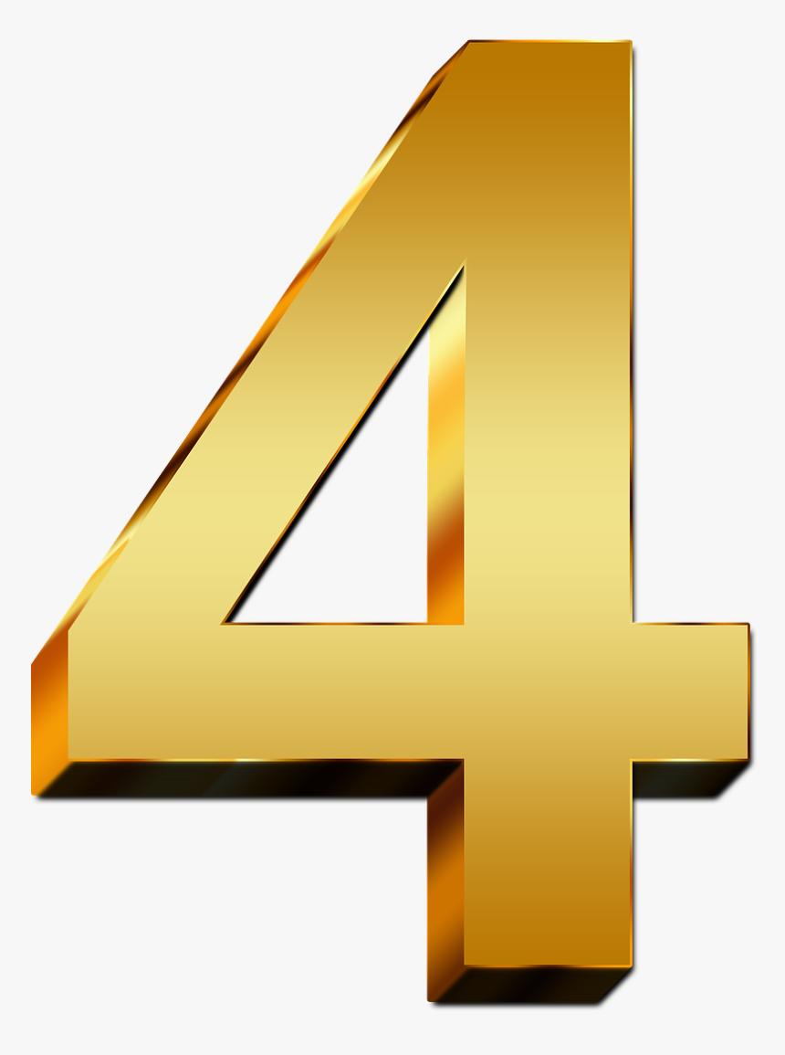 4 Number Gold Png, Transparent Png, Free Download