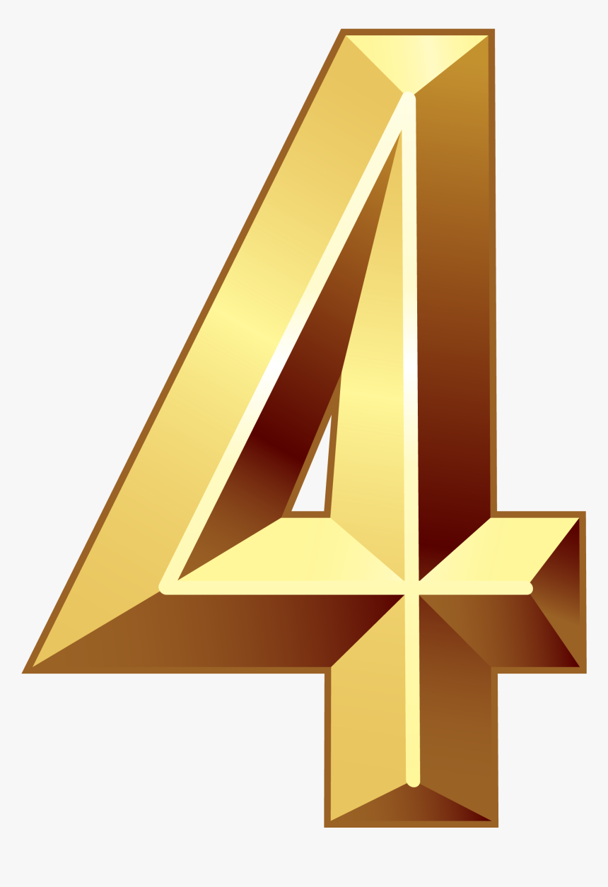 Number 1 Clipart Numerical Number - Gold 4 Transparent Background, HD Png Download, Free Download