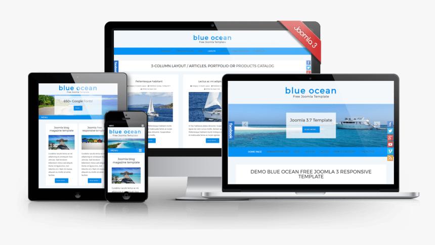 Blue Ocean Joomla Free Template Web Design Hd Png Download Kindpng