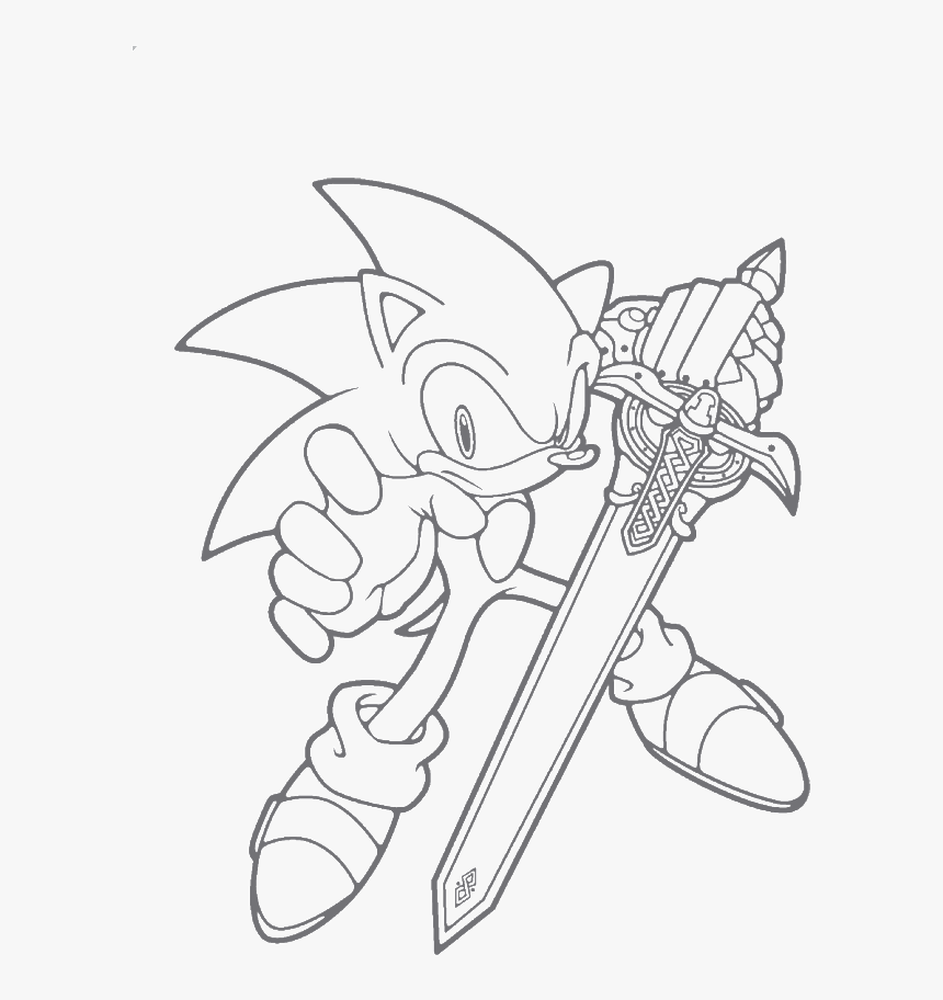 Sonic Is A Great Sword Unleashed Coloring Page Sonic The Hedgehog With Sword Printable Coloring Sheets Hd Png Download Kindpng