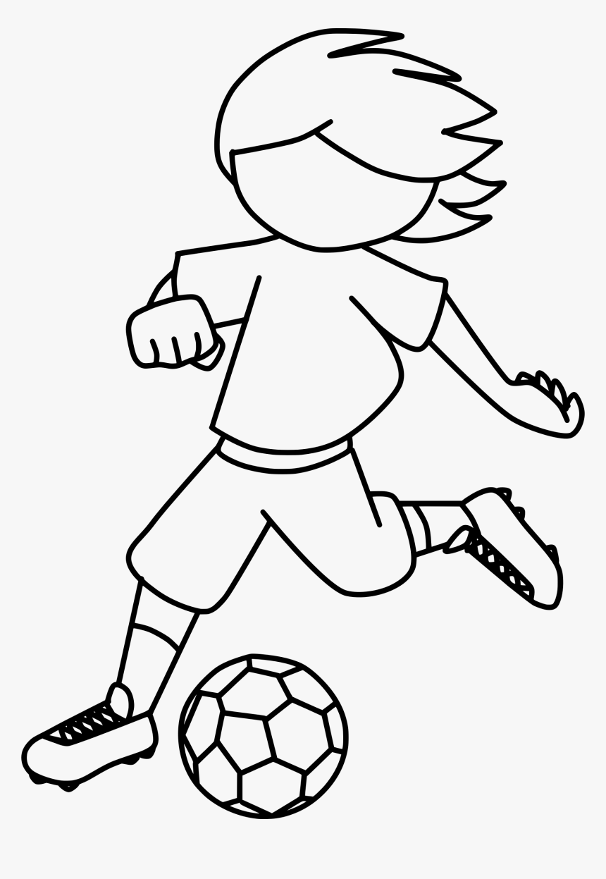 Kicking Football Clipart Clipart Black And White Clipart Drawing A Boy Kicking A Ball Hd Png Download Kindpng