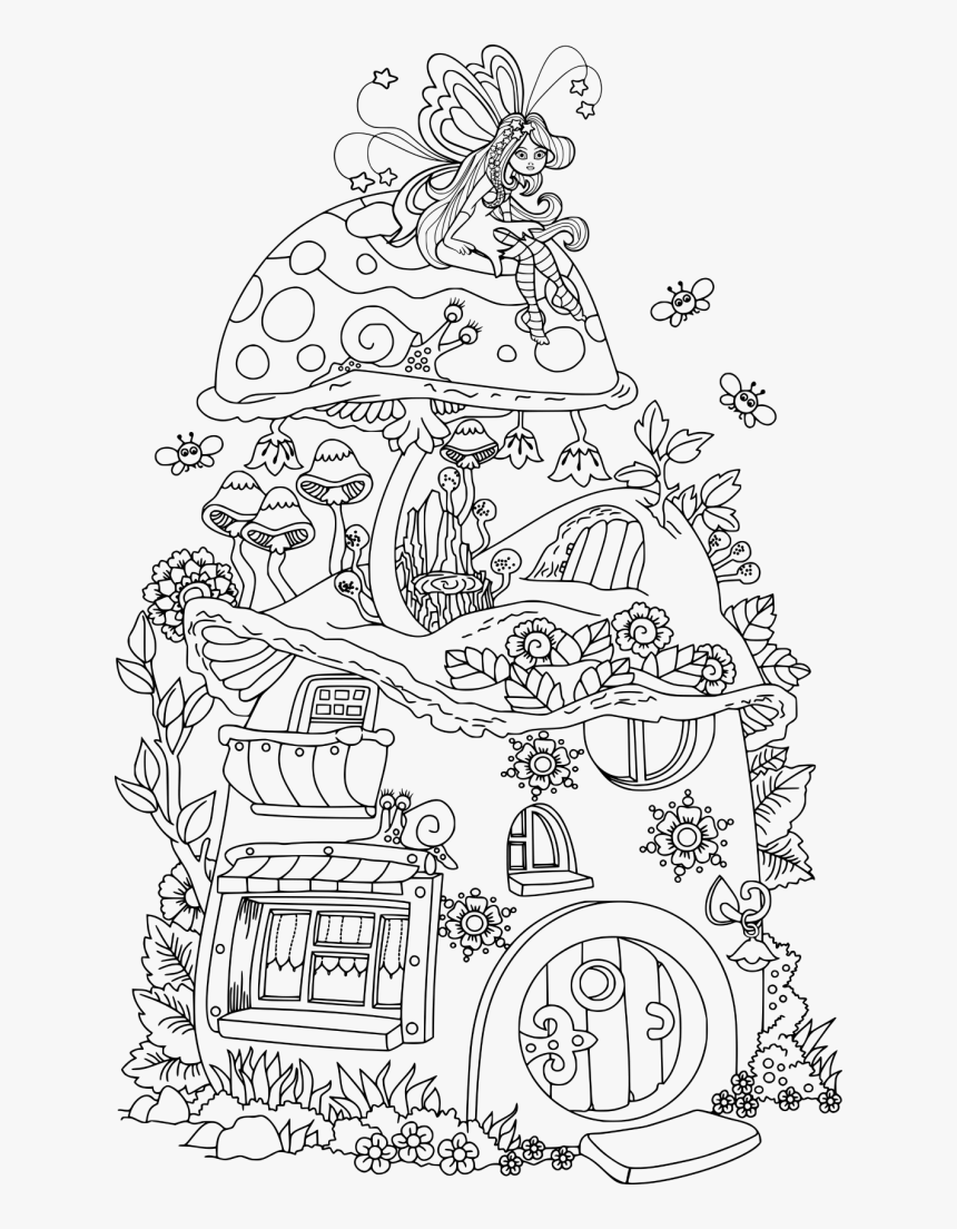 Cute Fairy House Coloring Page - Fairy And Mushroom House ...
