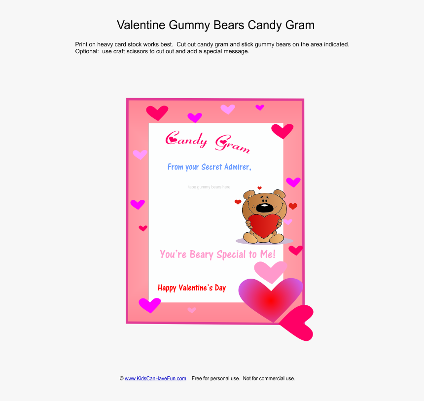 Transparent Gram Clipart - Valentine's Day Candy Gram Template Card, HD Png Download, Free Download