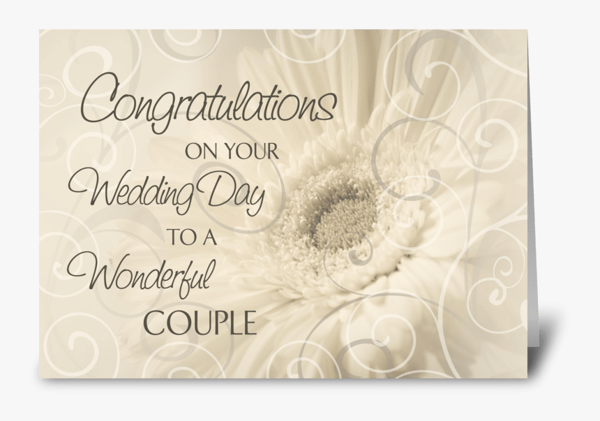 Wedding Day Congratulations White Swirls Greeting Card - Congratulations Wedding Day Greeting Card, HD Png Download, Free Download
