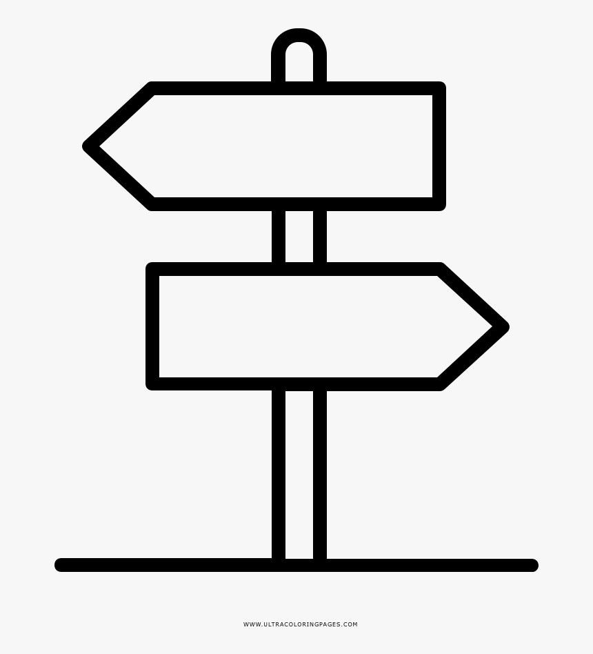 Direction Sign Coloring Page, HD Png Download, Free Download