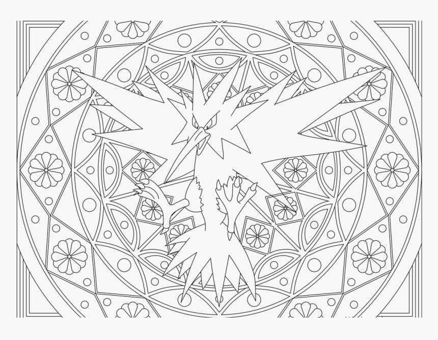 Zapdos Printable Coloring Pages Clipart , Png Download - Arbok Pokemon Coloring Page, Transparent Png, Free Download