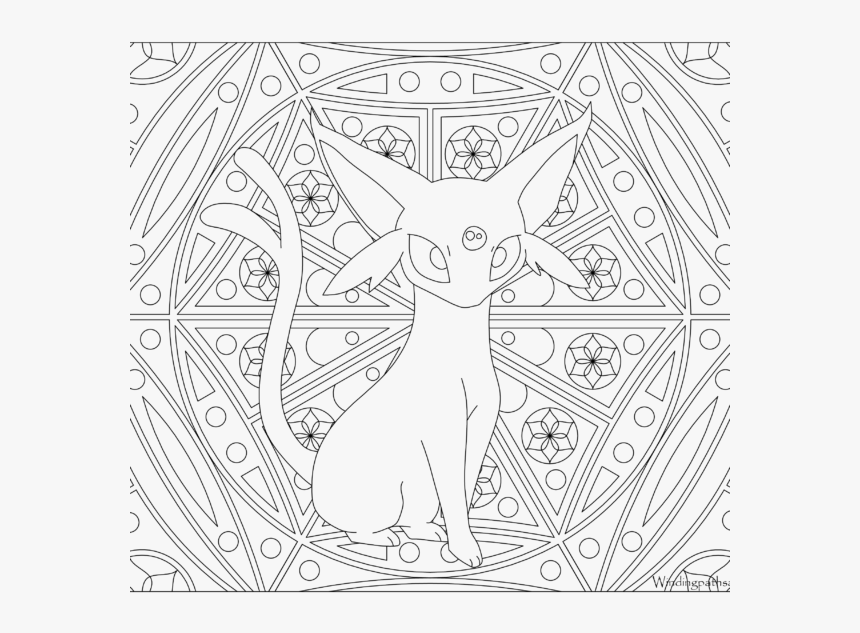 Adult Pokemon Coloring Page Espeon - Pokemon Adult Coloring Page, HD Png Download, Free Download