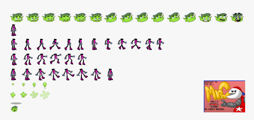 Click For Full Sized Image Beast Boy - Teen Titans Beast Boy Sprites, HD Png Download, Free Download