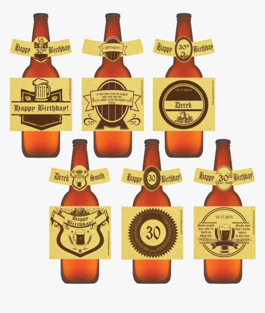 Beer Labels - Gold - Happy Birthday - 6 Pack - Mypaperdot - Gold Beer Labels, HD Png Download, Free Download