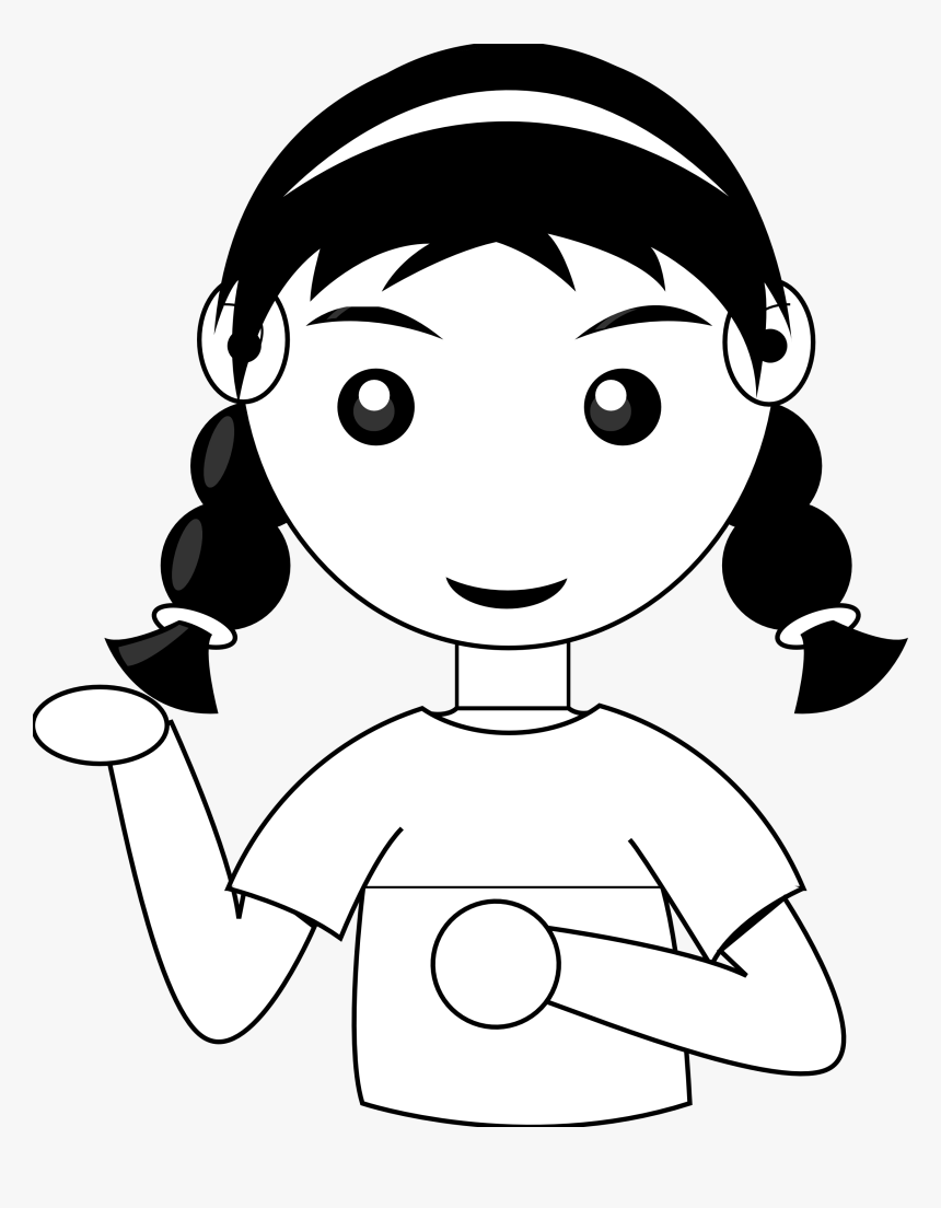 Praise Clipart Happy Black Girl - Girl Clip Art Black And White, HD Png Download, Free Download