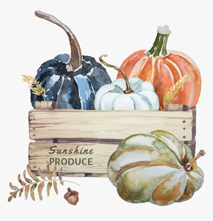 #watercolor #pumpkins #crate #fall #leaves #autumn - Throw Pillow, HD Png Download, Free Download